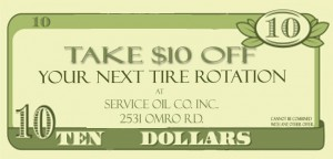 $10 off Tire Rotation | Service Oil Company | Oshkosh, Wisconsin
